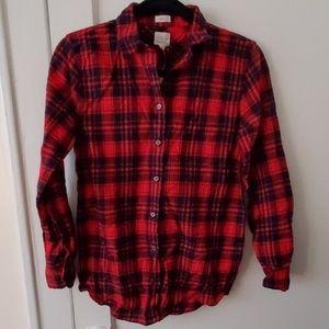J Crew Factory red navy plaid flannel boy shirt SP